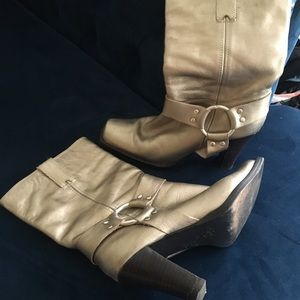 Gold Tone Heeled Motorcycle Boots